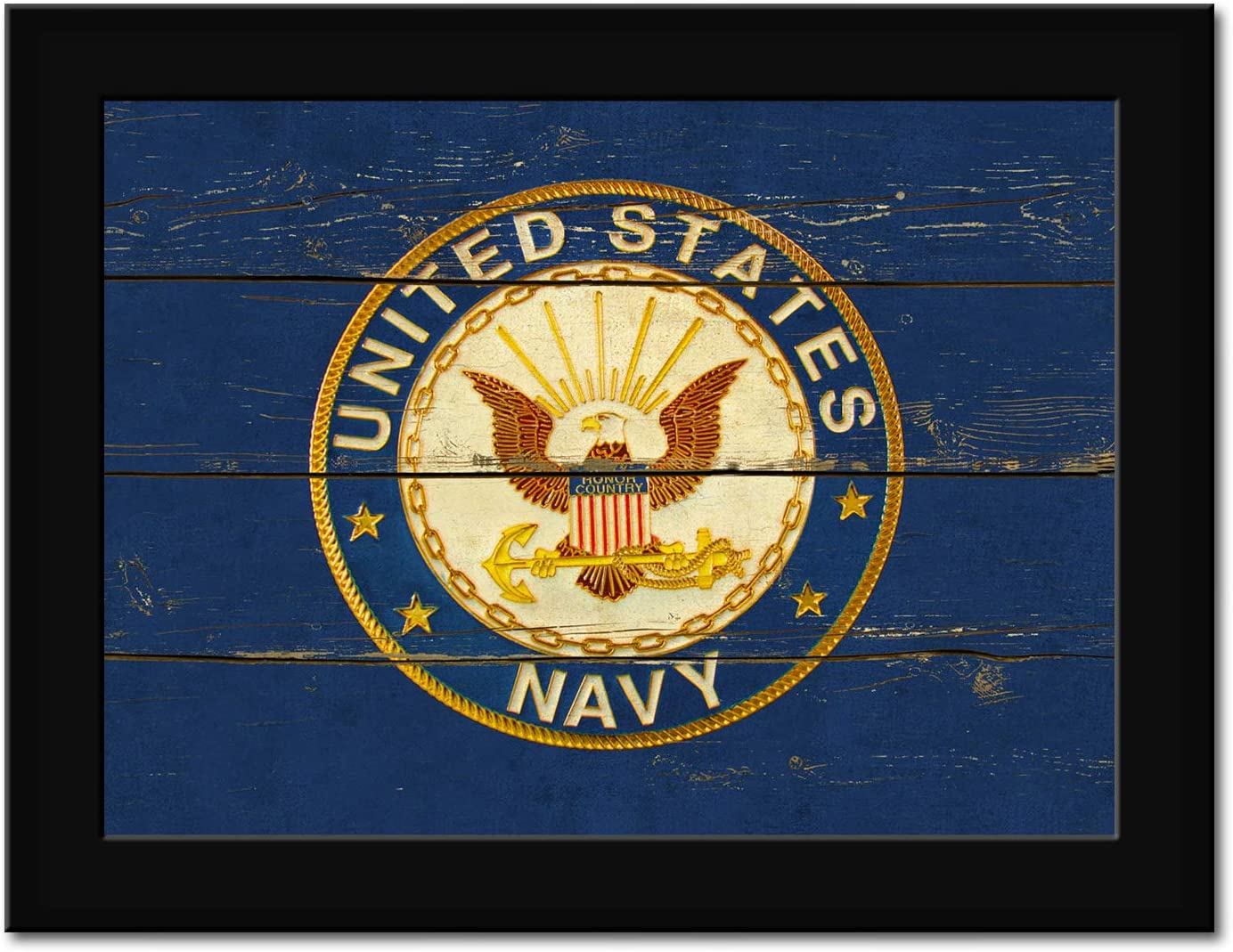 United States Navy Logo Military Militany Decor - FRAMED - Canvas Print Home Decor Desk Stand and Wall Art, Black Real Wood Frame, Blue, 7x9