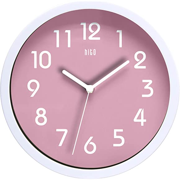HITO Modern Colorful Silent Non-ticking Pink Wall Clock