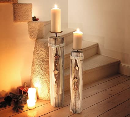 Amazon Wood Column Floor Candle Holders W Decorative Stars