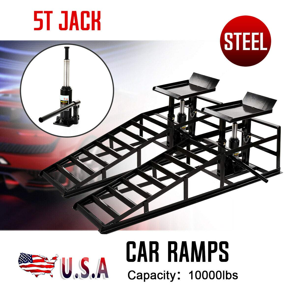 Vehicle Ramp Car Truck Repair Shop Garage Portable Automotive Service Ramps Pair