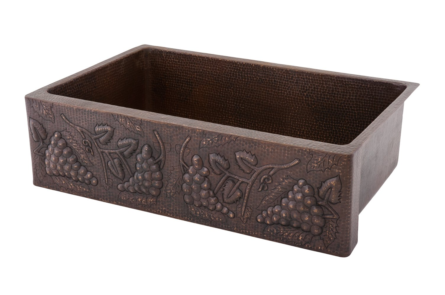 Premier Copper Products KASDB33229G 33-Inch Hammered Copper Kitchen Apron Single Basin Sink with Vineyard Design, Oil Rubbed Bronze by Premier Copper Products