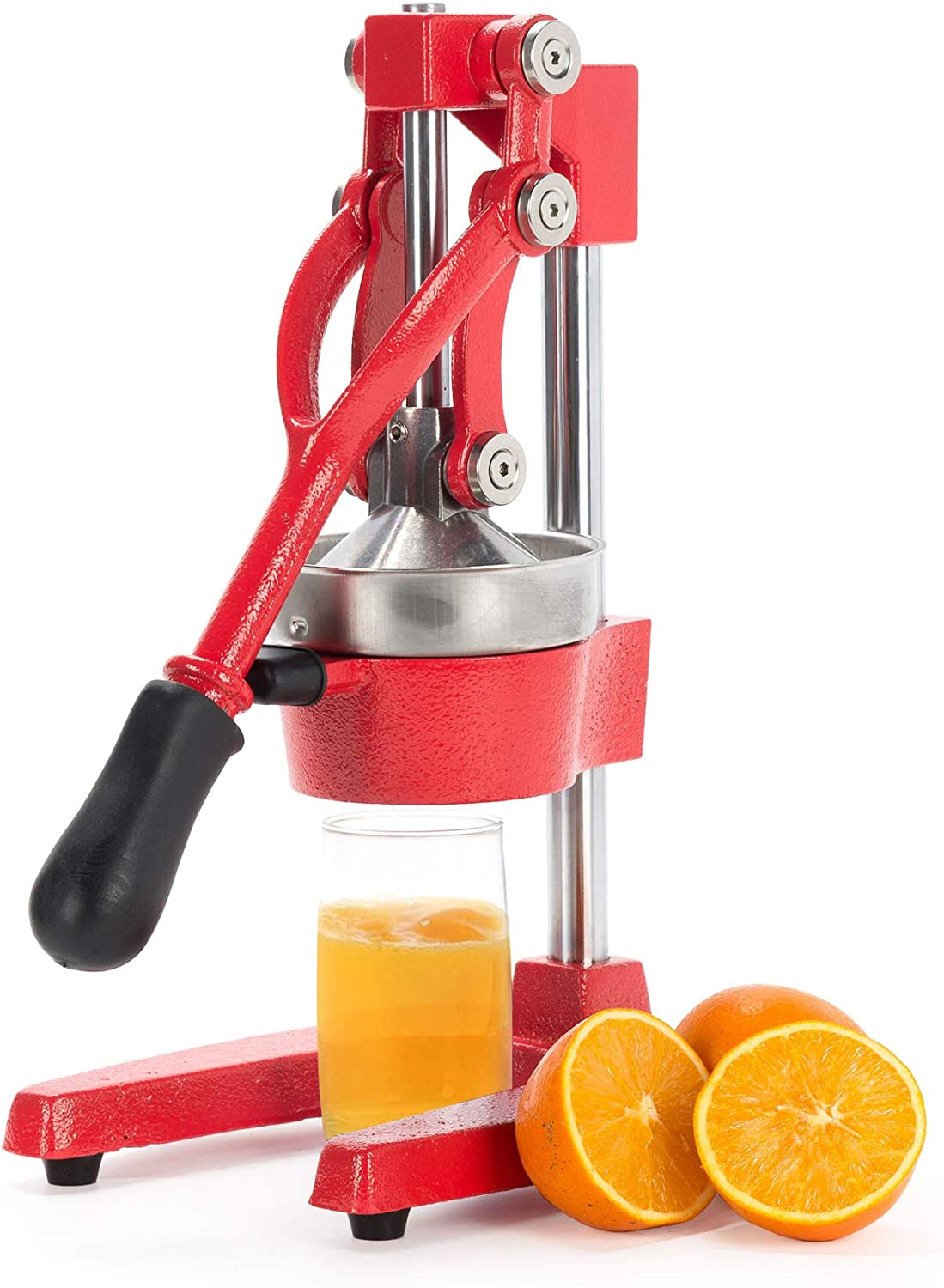 CO-Z Commercial Grade Citrus Juicer Professional Hand Press Manual Fruit Juicer Orange Juice Squeezer for Lemon Lime Pomegranate (Red Cast Iron/Stainless Steel)