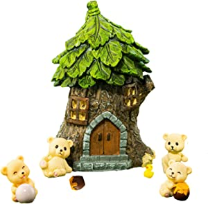 Fairy Garden Accessories Gnome Bear - Miniatures Mini Cute Tiny Fairy House Kit Figurine with Window and Doors for Kids Adults My Live Home Decoration Suitable Outdoor Indoor Patio Terrarium Decor