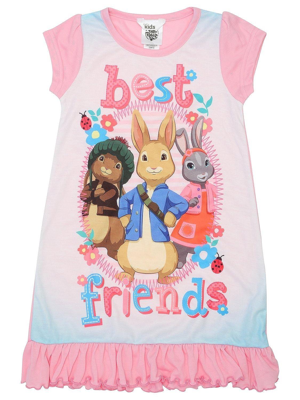 M&Co Peter Rabbit Girls Pink Short Sleeve Crew Neck Frill Hem Character Print Nightdress