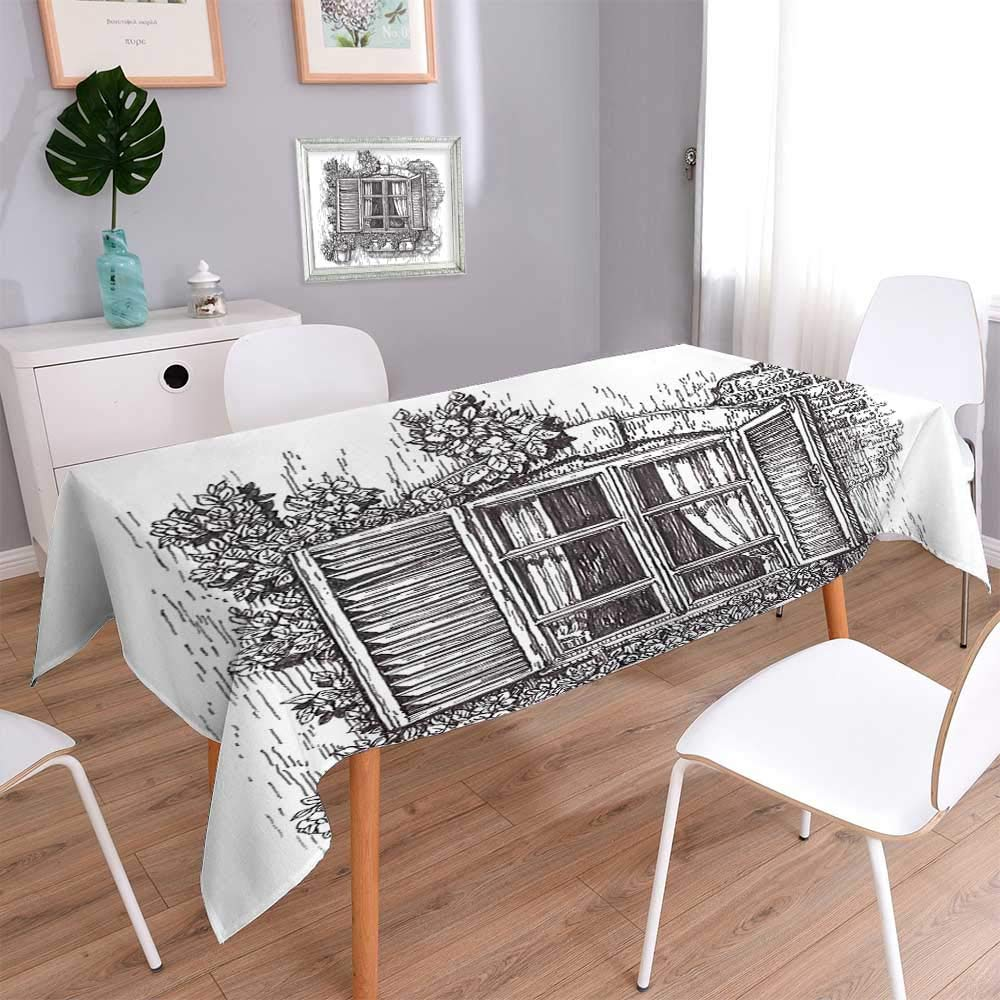 L-QN Indoor/Outdoor Sketchy Art Window Old Abandoned Window Design with Blinds and Flowers Black and Kitchen Tablecloth Picnic Cloth 60''x120''