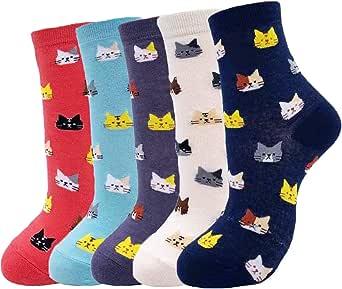 Jeasona Women's Funny Socks Cute Fun Novelty Crazy Cool Cat Dog Gifts (Multicolored Cat, 5)