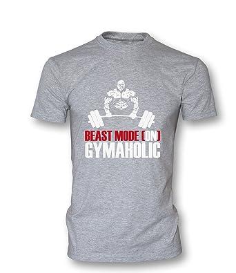 adddc9fcec262e Beast mode Gymaholic Herren T-Shirt Grau - Schwarz Rot Größe XXXL
