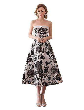 2271fa3f25e Erosebridal Strapless Lace Formal Gowns For Women Tea Length Wedding Guest  Dress Gowns US2 Black