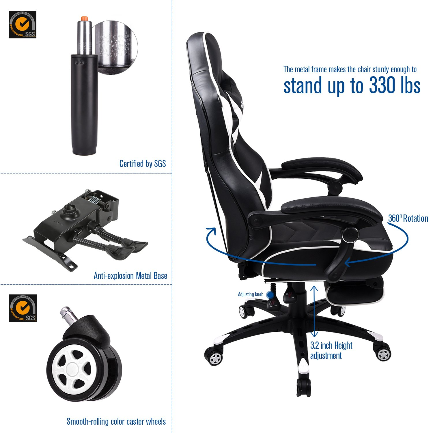Elecwish Computer Gaming Chair with Footrest for Adults High-Back Video Game Chair with Lumbar Support Ergonomic Reclining Office Chair Orange