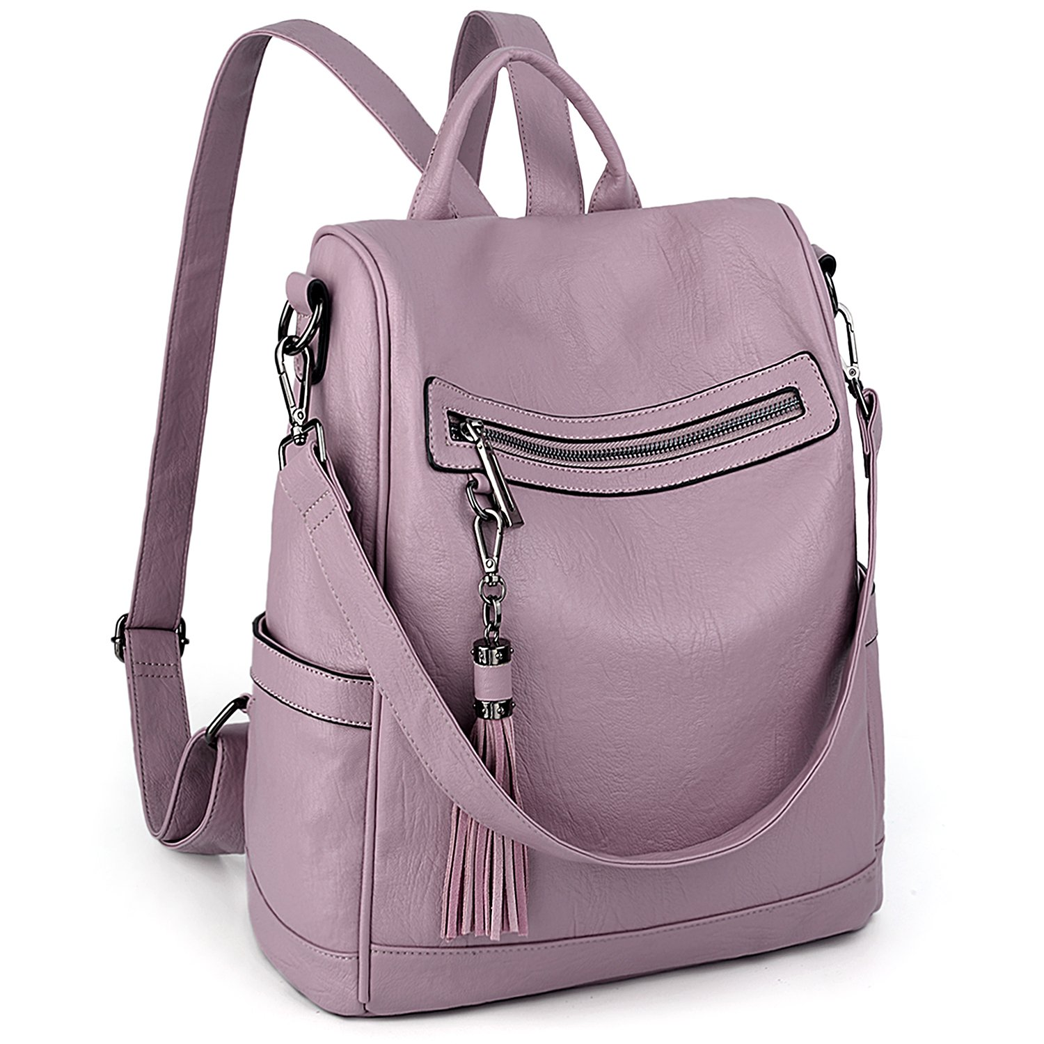 UTO Women Anti-Theft Backpack Purse PU Washed Leather Ladies Tassels Convertible Rucksack Shoulder Bag Lavender