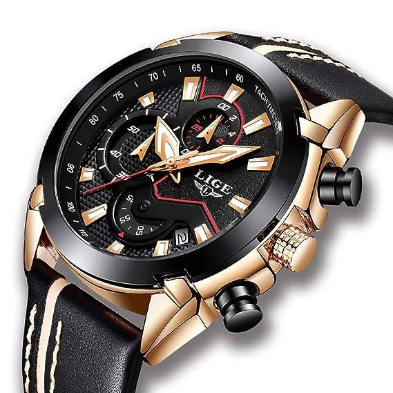 8b366747a92ac2 Orologio da uomo LIGE, Orologio sportivo analogico al quarzo di moda,  cronografo militare impermeabile in pelle nero, Casual Quadrante grande  orologio ...