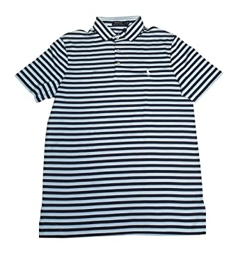 ff1cd68529c398 Polo Ralph Lauren Men's Classic Fit Pony Logo Striped Polo Shirt (Navy  Blue/Blue