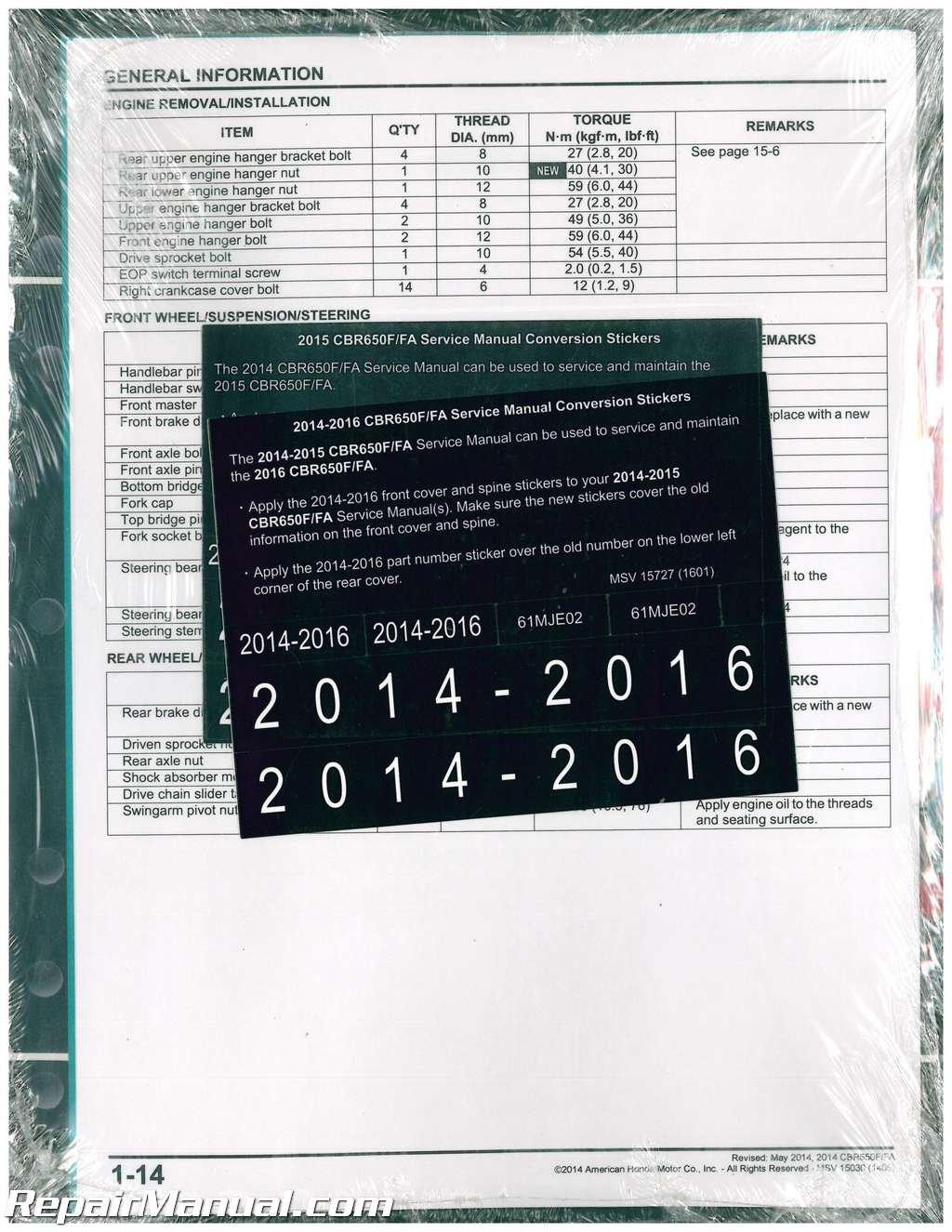 61mje02 2014 2015 2016 honda cbr650 f fa motorcycle service manual: by  author: amazon.com: books  amazon.com