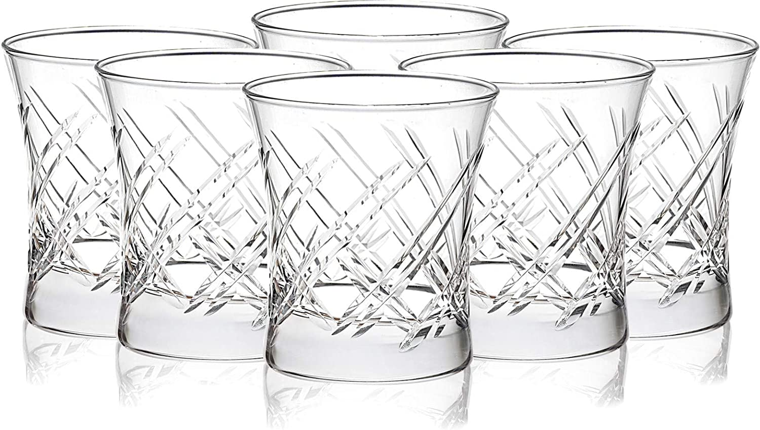 Drinking Glasses for Water, Juice, Beer, Wine and Cocktails, Set of 6, Clear Tempered Glass Hand Cut Tumblers, Glassware Set for All Occasions (8 oz)