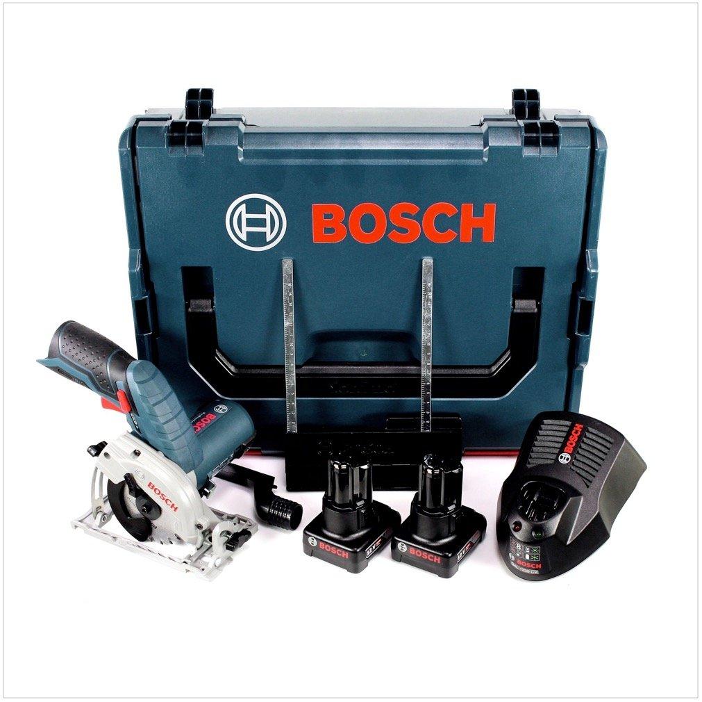 Bosch GKS 12V-26 Professional Scie circulaire sans fil 85mm avec bo/îtier L-Boxx 2x Batteries GBA 6,0 Ah Chargeur rapide GAL 1230 CV