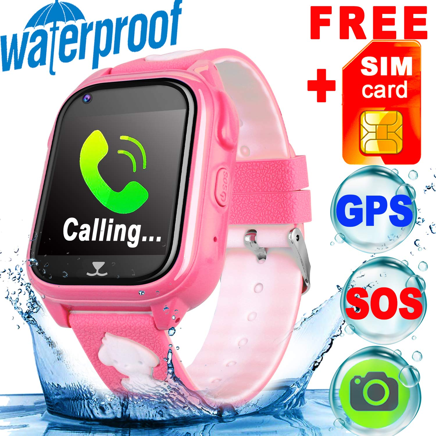 [SIM Card Included] IP68 Waterproof Kid Smart Watch Phone GPS Tracker Girls Boys Fitness Tracker SOS Camera Anti-Lost Game Sport Watch Swim Run Wrist Summer Outdoor Live Mobile App iOS/Android