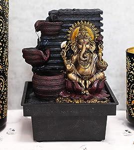 Ebros Gift Hindu Vastu Elephant God Ganesha Meditating Table Desktop 3 Step Water Fountain Waterfall Statue Decorative Water Feature 3D Ganapati Vinakaya Hinduism Lord of Success Remover of Obstacles