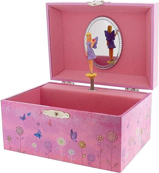 Girls Heart /& Twirling Butterfly Musical Jewellery Trinket Box Mele Childrens