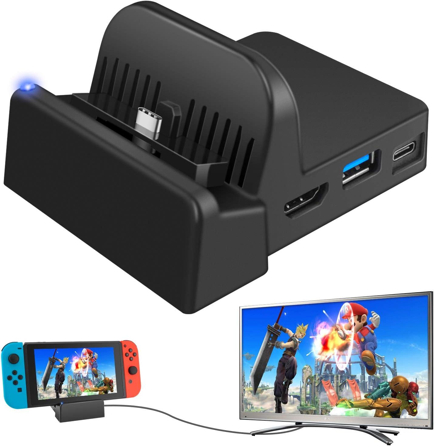 Ponkor Base de Carga para Nintendo Switch, Mini Switch TV Dock Soporte de Carga, Protable Adaptador HDMI Reemplazo de Carga para Nintendo Switch con USB 3.0 LED Light