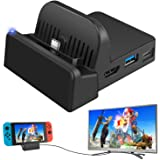 Ponkor Nintendo Switch Dock, Mini Portable Switch Docking Station HDMI TV Adapter Switch Charger Dock Set Ideal Replacement for Official Nintendo Switch Dock