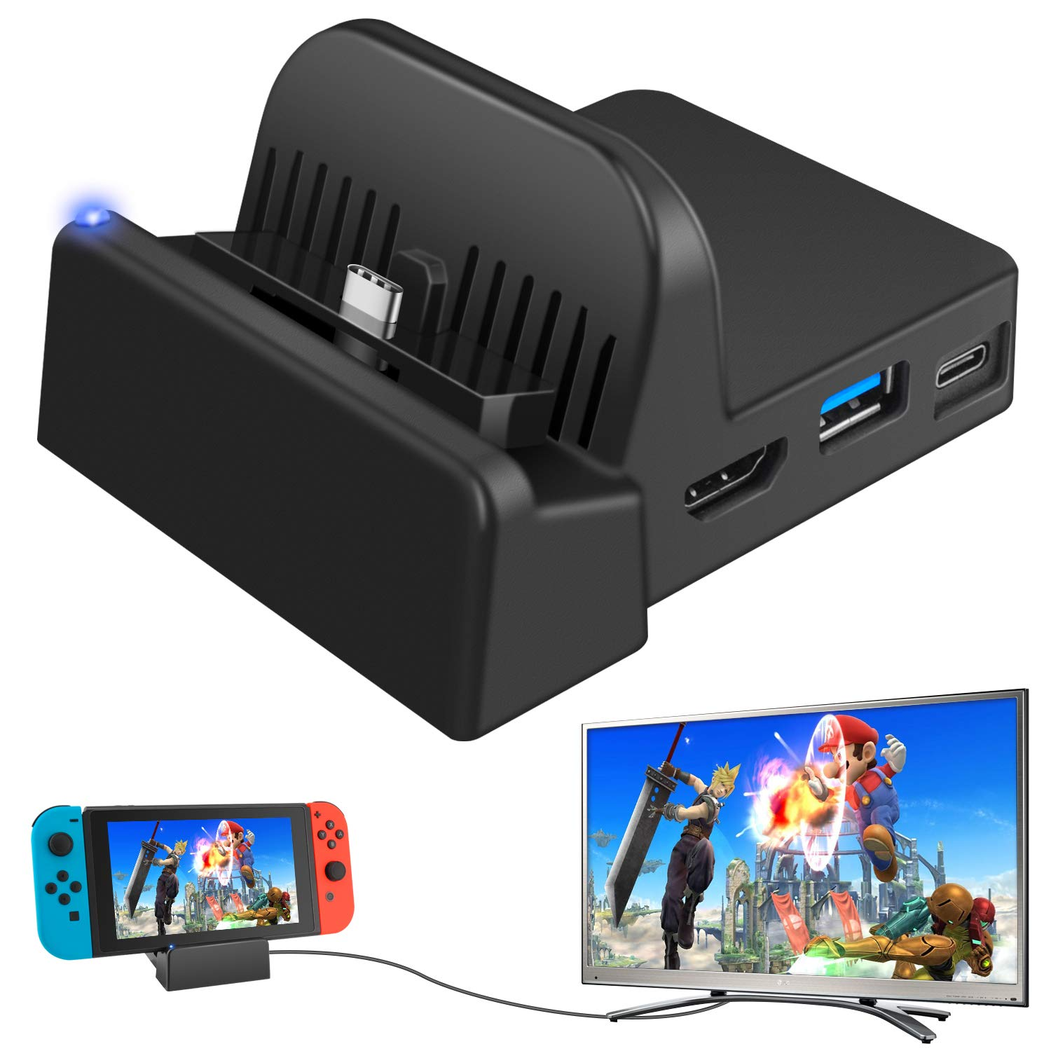Ponkor Docking Station for Nintendo Switch, Charging Dock 4K HDMI TV Adapter Charger Set Replacement compatible with Official Nintendo Switch Dock (No Charging Cable)