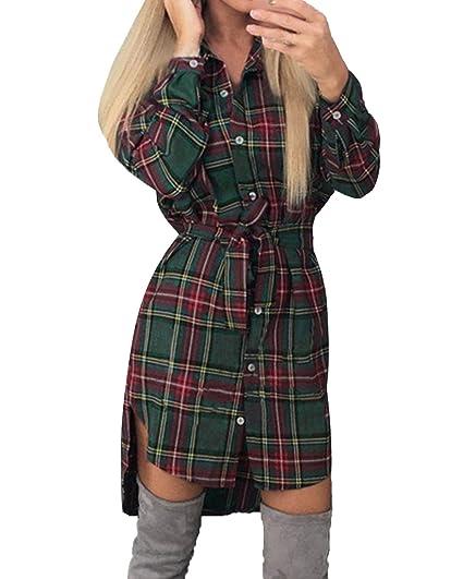 9fdb055cf5 StyleDome Women's Long Sleeve Tartan Check Plaid Long Tops Shirt Dress Plus  Size Green ...