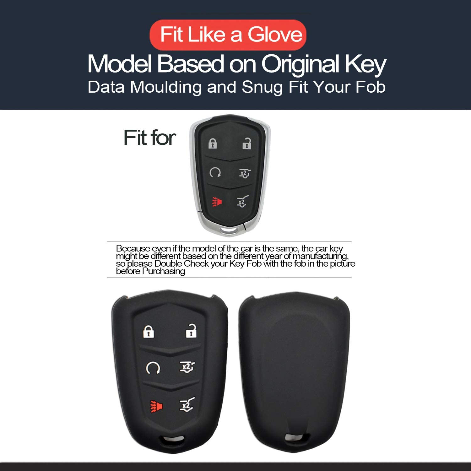 INFIPAR 2pcs Compatible with Cadillac Smart 6 Buttons Silicone FOB Key Case Cover Protector Keyless Remote Holder for 2019 2018 2017 2016 2015 Cadillac Escalade SRX Escalade Esv