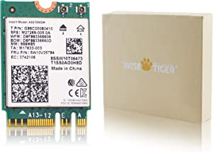 WISE TIGER AX210NGW WiFi Card, Wi-Fi 6E 11AX Wireless Module Expand to 6GHz MU-MIMO Tri-Band Internal Network Adapter with Blue-Tooth 5.2 for Laptop, Support Windows 10 64bit, M.2/NGFF