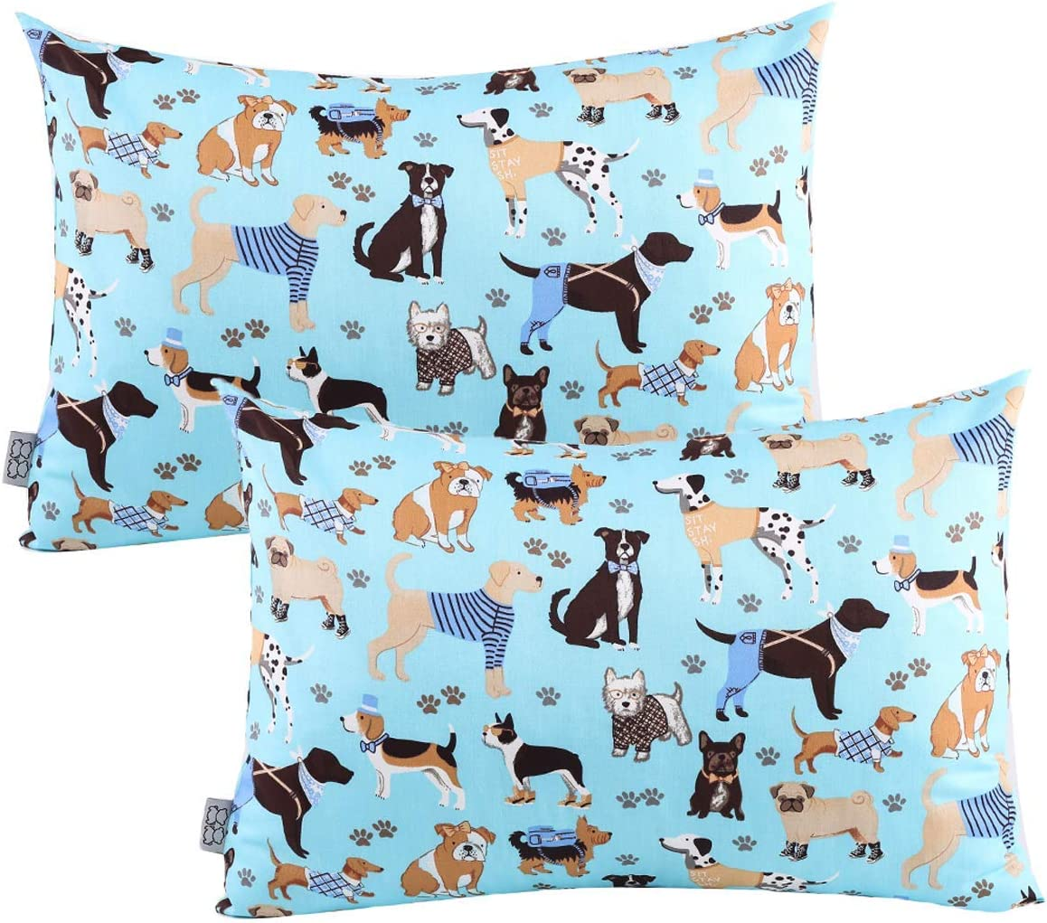 JISEN Kid Toddler Pillowcases 2 Pack 100/% Natural Cotton Tiny Pillow Cover Cases for Sleeping with Envelope Closure 33x46cm Blue Dog