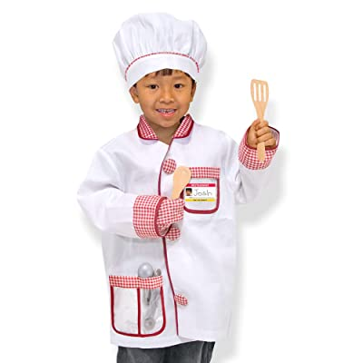 "Melissa & Doug Chef Role-Play Costume Set (Pretend Play, Materials, Machine-Washable, 17.5"" H x 24"" W x 0.75"" L, Great Gift for Girls and Boys - Best for 3, 4, 5, and 6 Year Olds): Toys & Games"