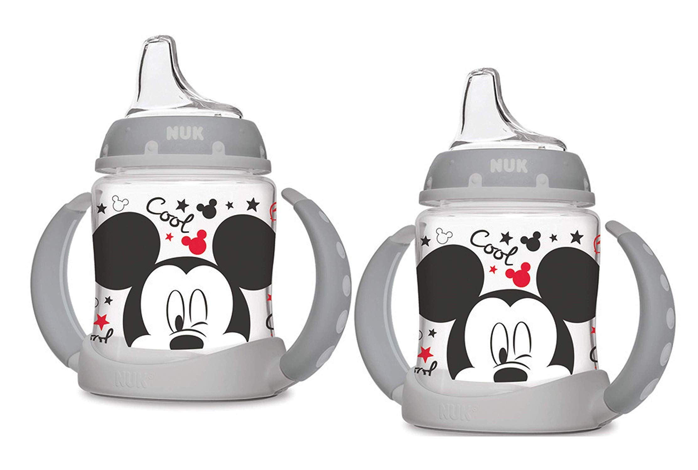 NUK Disney Learner Cup with Silicone Spout, Mickey Mouse, 5-Ounce, 2 Count by NUK