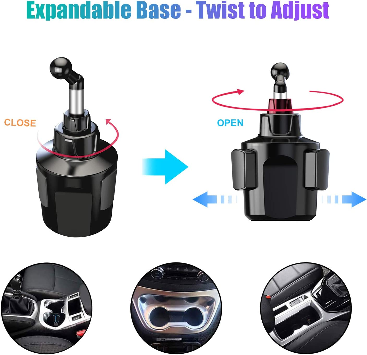 Adjustable Cradle Car Mount for iPhone 11 Pro//XR//XS Max//X//8//7 Plus//6s//Samsung S10+//Note 9//S8 Plus Cup Holder Phone Mount for Car