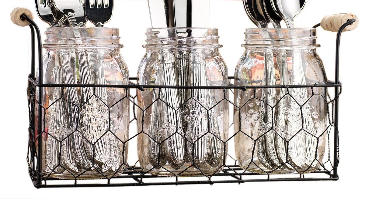 Set of 3 Clear Glass Mason Jars in Wire Tray with Wooden Handles, Flatware Caddy Organizer Set for Home & Parties S-smart