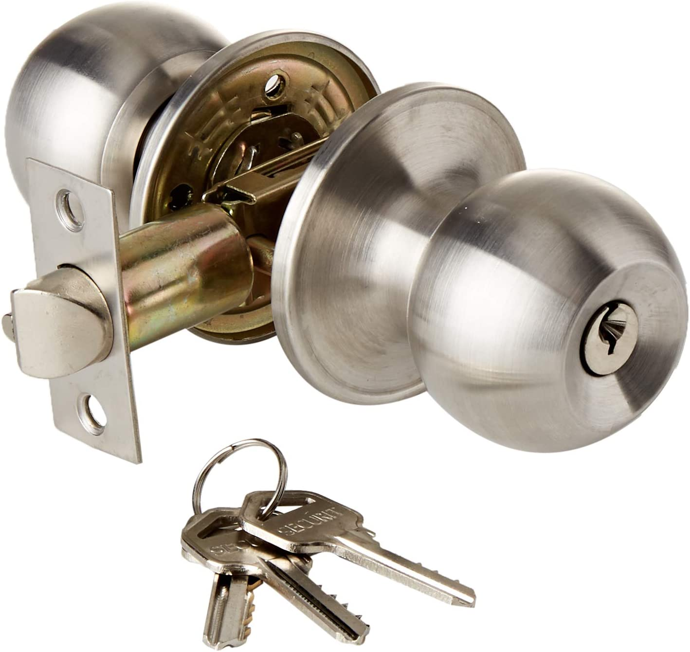 3 SETS of TOP QUALITY PASSAGE MORTICE DOOR KNOB SETS in SATIN STAINLESS STEEL