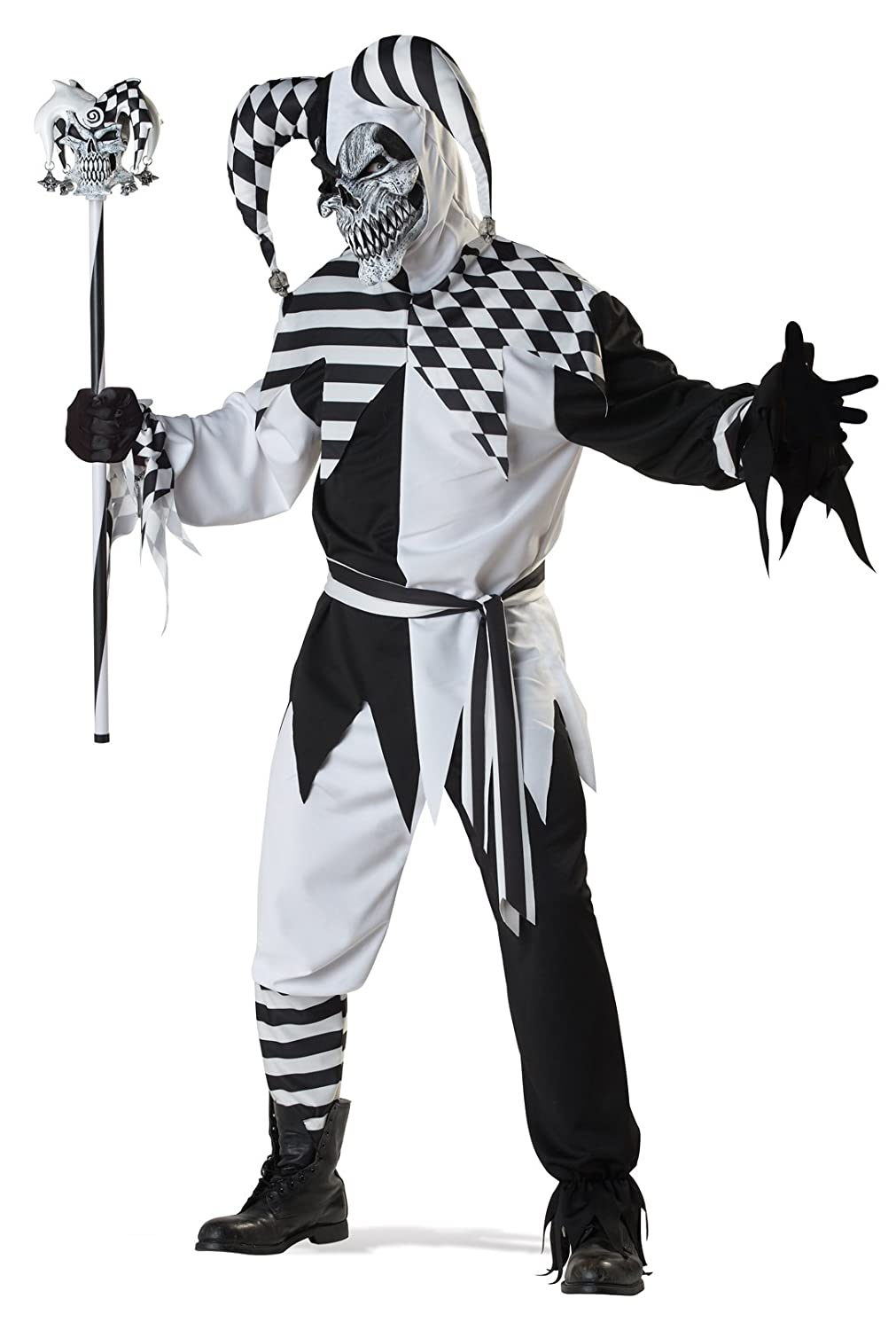 Deluxe Nobody's Fool Medieval Evil Jester Halloween Scary Fancy Dress Costume California Costumes 1123