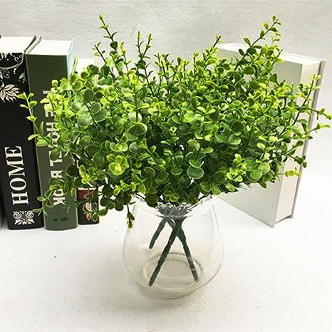 deboc Artificial Plástico Verde eucalipto hierba pequeñas hojas planta para casa jardín decoración de la boda: Amazon.es: Juguetes y juegos