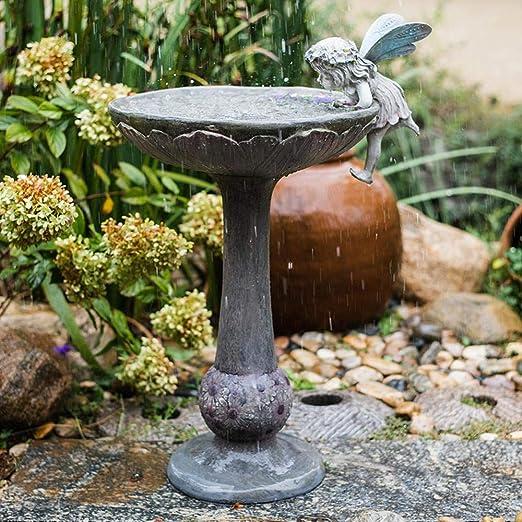 Estatuas para jardín Columna Romana Patio Hada De La Cuenca del Jardín Esculturas De Aves De Baño Pot Ornamentos Decorativos 56 * 30 * 85cm: Amazon.es: Hogar
