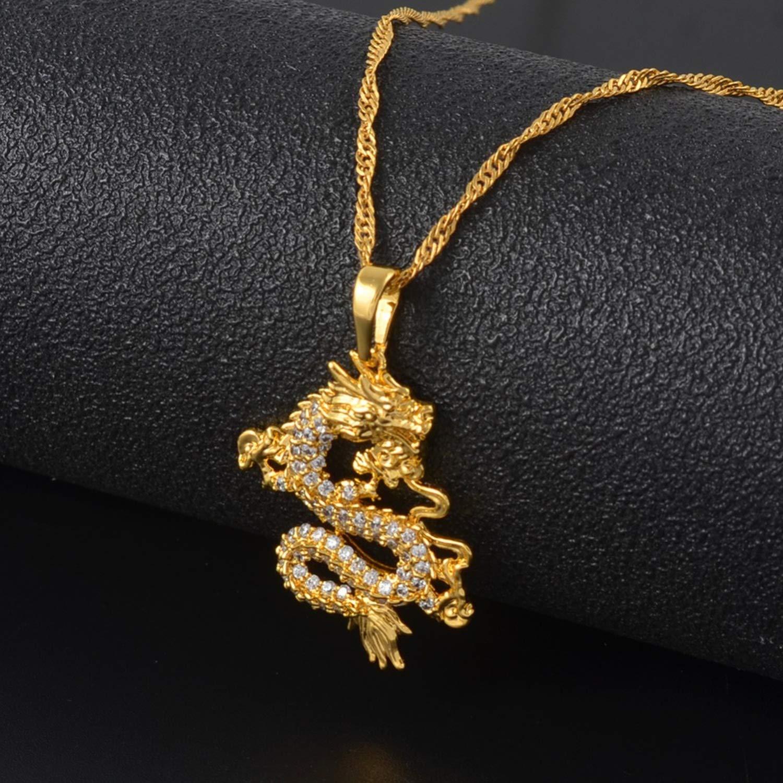 Kriseraph Cz Dragon Pendant Klaces For Women Men Gold Color Jewellery Cubic Zirconia Mascot Ornaments Lucky Symbol Gifts #064004