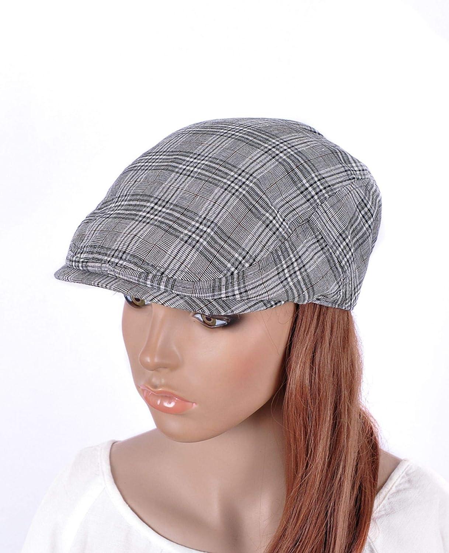 UKURO Womens Sparkle Gray Gingham Checks Newsboy Cabbie Cap Costume Hat