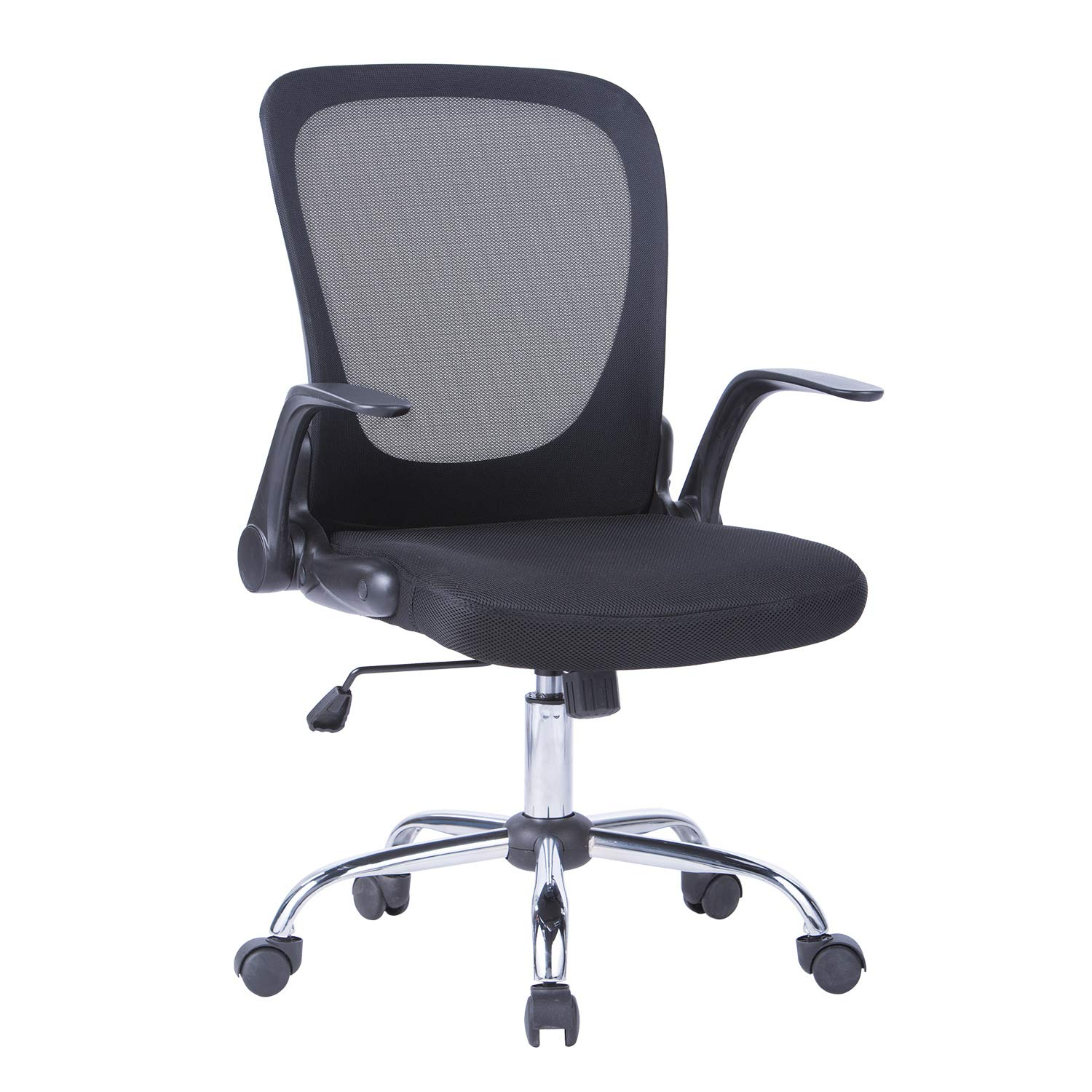 MBOO Mid Back Mesh Task Chair, Ergonomic Swivel Computer Desk Office Chair with Flip Up Arms, Siutable for Office and Home, Black