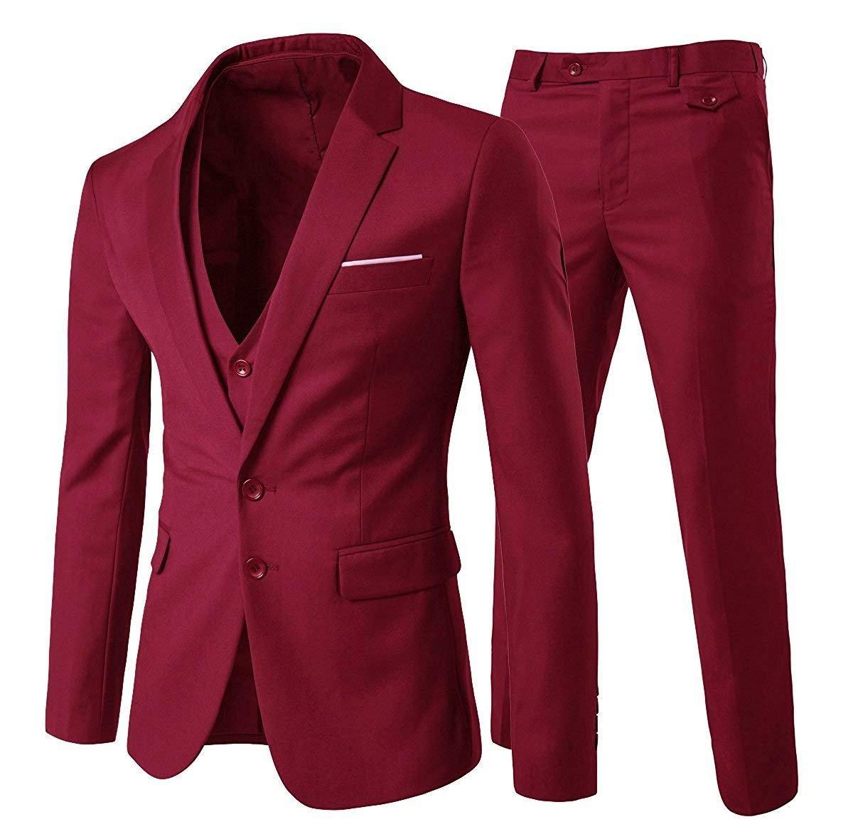 Cloudstyle Men's 3-Piece Suit 2 Buttons Slim Fit Solid Color Jacket Smart Wedding Formal Suit (XX-Large, Red)