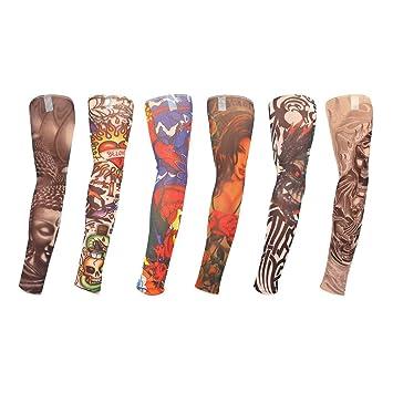 TAGVO Mangas del brazo del tatuaje falso, 6pcs Moda calentadores del brazo al aire libre