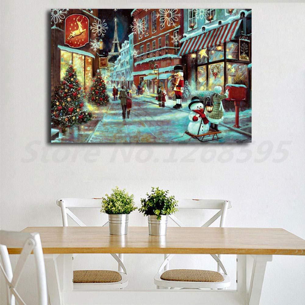 WJY Paris im Winter Weihnachten wandkunst leinwand Poster und Druck leinwand malerei dekorative Bild f/ür b/üro Wohnzimmer wohnkultur 50 cm x 75 cm kein Rahmen