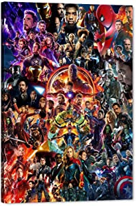 "Marvel Avengers Canvas Wall Art, Movie Superhero Canvas Painting Marvel Poster Framed Artwork for Home Wall Decor, Avengers Super Hero Iron Man Captain America Hulk Room Decor for Boys (24"" Wx36 H)"
