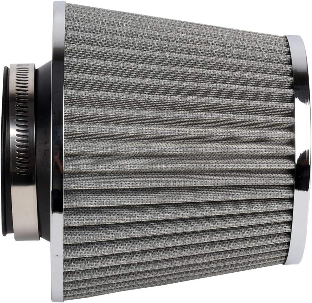 MorNon Universal Car Air Filter Induction Kit Sports Car Cone Air Filter Chrome Finish