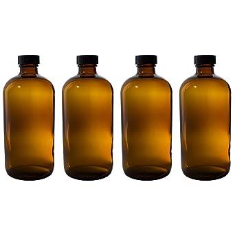 /Pack de 2 250/ml botellas de cristal /ámbar con negro tapas/