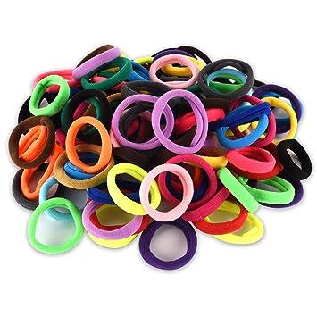 Amazon.com   100pcs Girls No-damage Elastic HairBand Rope Tiny Ponytail  Holder Mixed Colors Headband Accessories(100 PCS HAIR BAND)   Beauty dd4c8c862a5