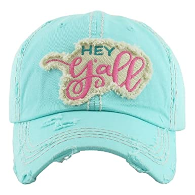 Sprinkles Gifts Distressed Mint Blue   Hey Y all   Baseball Cap Sun ... cbfd469a1a7