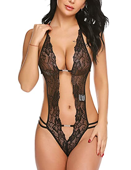 1250dee5c49 Avidlove Women Lace Teddy Lingerie One Piece Babydoll Bodysuit Black Small