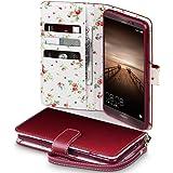 Mate 9 Cover, Terrapin Handy Leder Brieftasche Case Hülle mit Kartenfächer für Huawei Mate 9 Hülle Rot mit Blumen Interior